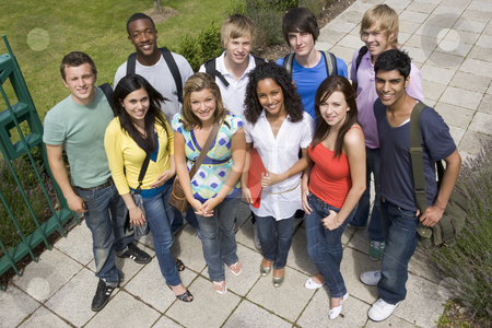 Group of college students on campus stock photo,  by Monkey Business Images