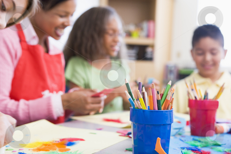 Elementary school art class stock photo, Elementary school art class selective focus by Monkey Business Images