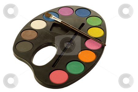 Painters Palette stock photo, Painters palette full of colors, isolated against a white background by Richard Nelson