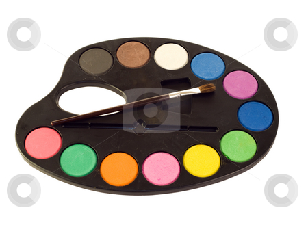 Isolated Paint Palette stock photo, A painters palette and brush isolated on a white background by Richard Nelson