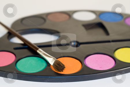 Paint Palette stock photo, Closeup view of a paint palette, shot on white by Richard Nelson