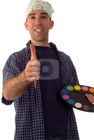 Smiling Painter stock photo, A young painter smiling and giving a thumbs up by Richard Nelson