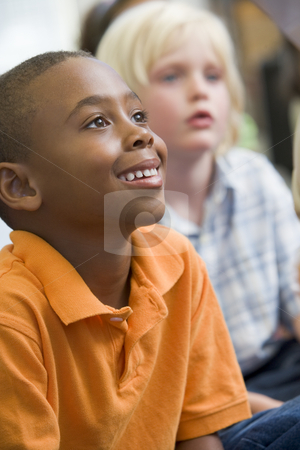 Boys in kindergarten class stock photo,  by Monkey Business Images