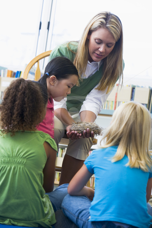 Kindergarten teacher showing bird's nest to children stock photo,  by Monkey Business Images