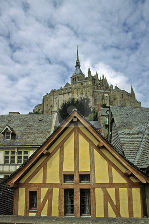 Le Mont-Saint-Michel, timbered house, Normandy, Northern France stock photo, Le Mont-Saint-Michel, timbered house, Normandy, Northern France by Lothar Hinz