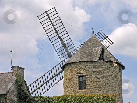 Windmill, Mont-Dol, Brittany, Northern France stock photo, Windmill, Mont-Dol, Brittany, Northern France by Lothar Hinz