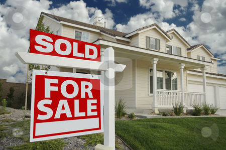 Sold Home For Sale Sign  stock photo, Sold Home For Sale Sign in Front of Beautiful New Home by Andy Dean