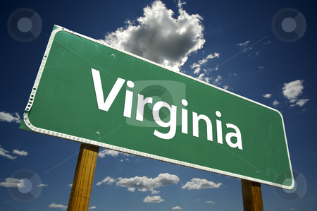 Virginia Road Sign stock photo, Virginia Road Sign with dramatic clouds and sky. by Andy Dean