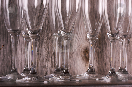 Champagne Flutes on Shelf stock photo, Champagne Flutes on Shelf Abstract by Andy Dean