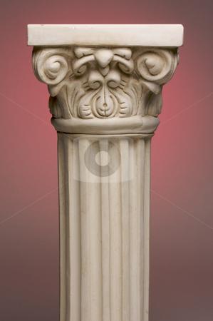 Ancient Column Pillar Replica stock photo, Ancient Column Pillar Replica on a Red Gradation Background. by Andy Dean
