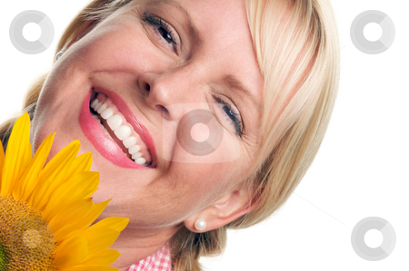 Attractive Blond and Sunflower stock photo, Attractive Blond and Sunflower isolated on a White Background. by Andy Dean