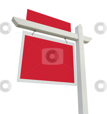 Blank Real Estate Sign stock photo, Blank Real Estate Sign with Room for Your Copy Isolated on White Background. by Andy Dean