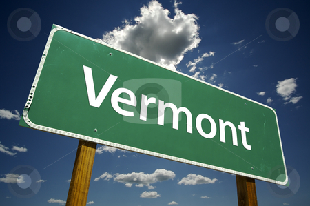 Vermont Road Sign stock photo, Vermont Road Sign with dramatic clouds and sky. by Andy Dean