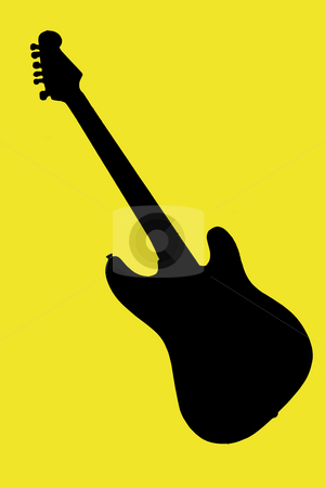 Guitar stock photo, Electric guitar on yellow background by Fabio Alcini