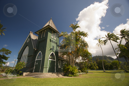 Church of Christ at Hanalei stock photo, Church of Christ at Hanalei Town, Kauai, Hawaii by Andy Dean