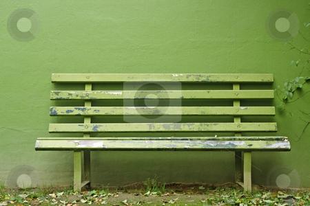 Green bench, green bank stock photo, Green bench, green bank by Lothar Hinz