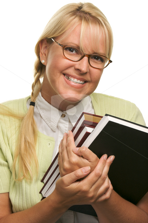 Cute Student with Retainer Carrying Her Books stock photo, Cute Student with Retainer Carrying Her Books isolated on a White Background. by Andy Dean