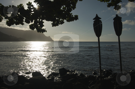 Sunset Over Hanalei Bay, Kauai stock photo, Sunset Over Hanalei Bay, Kauai, Hawaii by Andy Dean