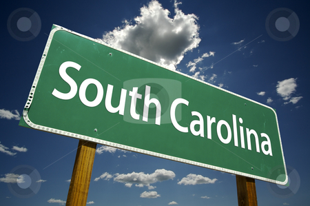 South Carolina Road Sign stock photo, South Carolina Road Sign with dramatic clouds and sky. by Andy Dean