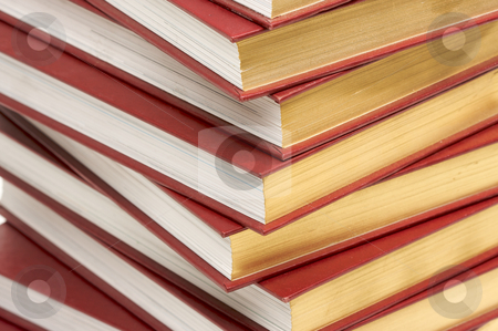 Stack of Books stock photo, Burgundy Covered Stack of Books Close Up. by Andy Dean