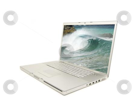 Laptop Isolated on White stock photo, Laptop Isolated on White with my Surf Photo on screen. by Andy Dean