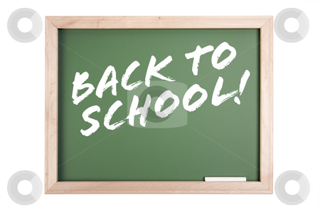 Back to School Chalkboard stock photo, Back to School Chalkboard Isolated on a White Background. by Andy Dean