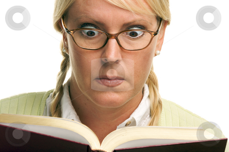 Stunned Female with Ponytails and Book stock photo, Stunned Female with Ponytails and Book isolated on a White Background. by Andy Dean