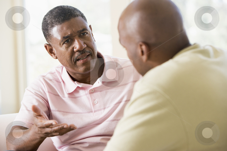 Two men in living room talking stock photo,  by Monkey Business Images