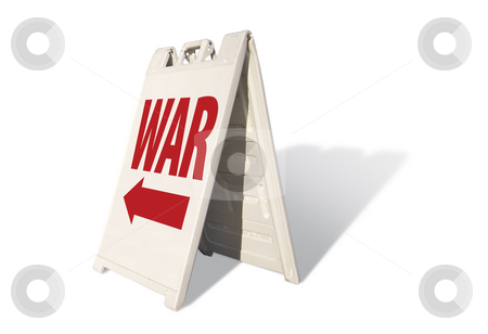 War Tent Sign stock photo, War Tent Sign Isolated on a White Background. by Andy Dean
