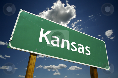Kansas Road Sign stock photo, Kansas Road Sign with dramatic clouds and sky. by Andy Dean