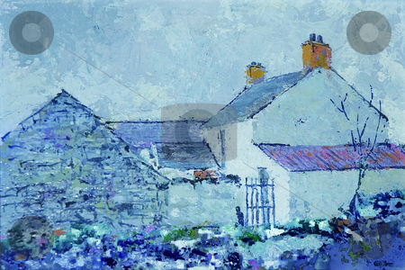 Ballynaclosha in the snow stock photo, Painting of old house great for christmas card by Midas Mould