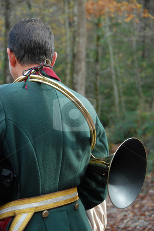 Fox hunting stock photo, Back of hunter in a traditional fox hunting with horn by Bonzami Emmanuelle