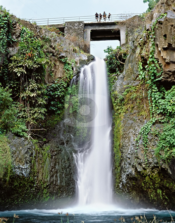 Bridge over waterfall stock photo, Famous waterfall in Comores islands by Seregey Korotkov