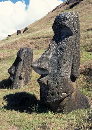 Easter island stock photo, Old stone sculpture in famous Easter island by Seregey Korotkov