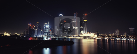 Singapore night lights stock photo, Panoramic view on Singapore downtown night lights by Seregey Korotkov