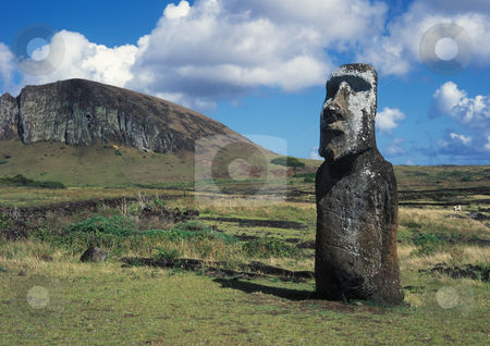 Easter island stock photo, Moais of Ahu Akivi inland Ahu on the UNESCO World Heritage of Easter Island Chile by Seregey Korotkov