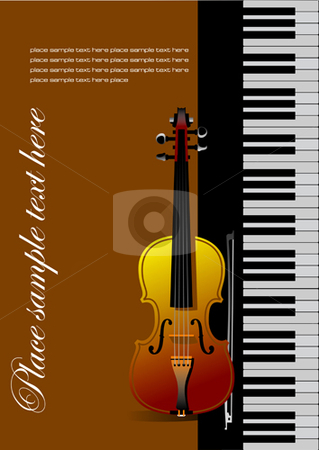 Piano with violin stock vector clipart, Piano with violin vector illustration by Leonid Dorfman