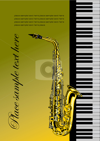 Piano with saxophone stock vector clipart, Piano with saxophone vector illustration for folder or cover by Leonid Dorfman