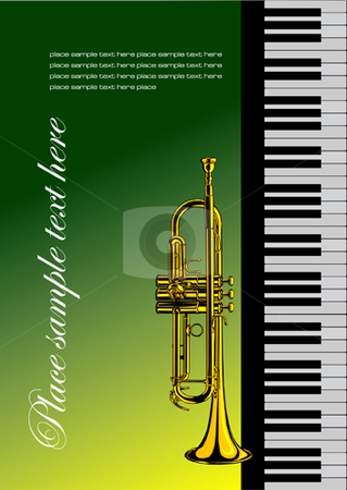 Piano with trumpet stock vector clipart, Piano with trumpet vector illustration for folder or cover by Leonid Dorfman