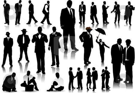 Office people silhouettes stock vector clipart, Office people silhouettes vector illustration by Leonid Dorfman