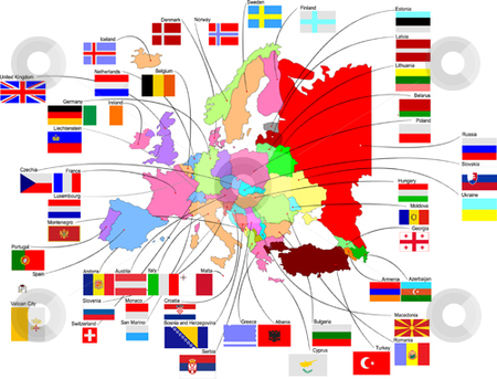 Map of Europe stock vector clipart, Map of Europe with country flags by Leonid Dorfman