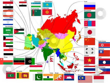 Map of Asia stock vector clipart, Map of Asia with country flags by Leonid Dorfman