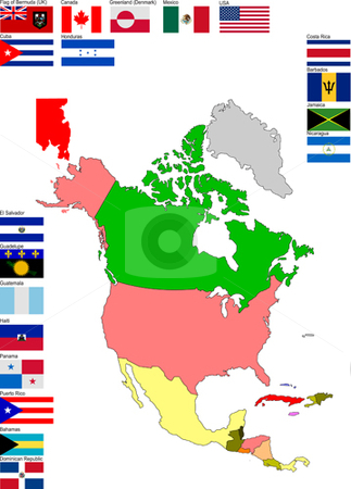 Map of North and Central America stock vector clipart, Map of North and Central America with country flags by Leonid Dorfman