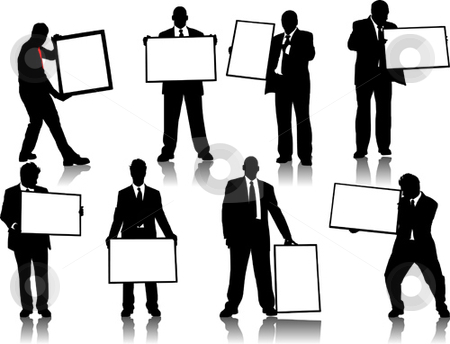 Office people silhouettes stock vector clipart, Office people silhouettes with board for advertisement by Leonid Dorfman