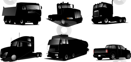 Six Vector illustration of trucks stock vector clipart, Six Vector illustration of trucks by Leonid Dorfman
