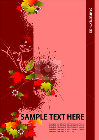 Cover for brochure stock vector clipart, Cover for brochure with red floral background by Leonid Dorfman