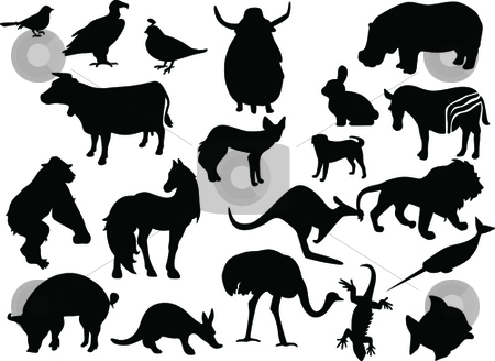 Animals black silhouettes stock vector clipart, Animals black silhouettes. Vector by Leonid Dorfman