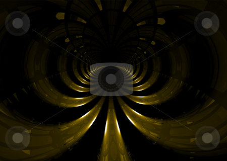 Space tunnel stock photo, Abstract golden space tunnel that would make an ideal background by Michael Travers