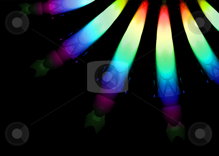 Christmas lights stock photo, Bright coloured christmas lights close up with black background by Michael Travers