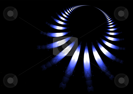Gas ring stock photo, Gas ring abstract background in blue and black by Michael Travers